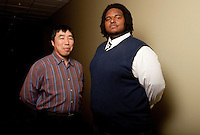 UWRF McNair Scholar, Charles William Hunter IV, left, with faculty member Chen-Chen Huang.<br /> <br /> Biology, Biomedical, College of Arts and Sciences