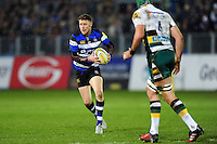 Rhys Priestland of Bath Rugby in possession. Aviva Premiership match, between Bath Rugby and Northampton Saints on February 10, 2017 at the Recreation Ground in Bath, England. Photo by: Patrick Khachfe / Onside Images
