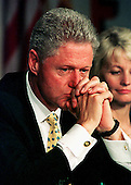 "United States President Bill Clinton listens to a presentation at an ""Education Roundtable"" at Herndon Elementary School in Herndon, Virginia on August 31, 1998..Credit: Ron Sachs / CNP"
