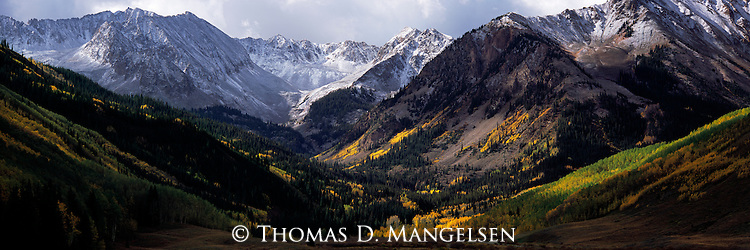 Autumn begins in the valley as the trees change color, while the first snow covers the tops of the Elk Mountains ushering in winter on the peaks.<br /> White River National Forest, Colorado