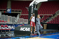 FRESNO, CA--Assistant Coach Kate Paye watches a workout with Nneka Ogwumike during a practice day in preparation to take on Duke at the Save Mart Center for the West Regionals Championships of the 2012 NCAA Championships.