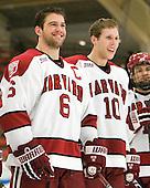 Ryan Grimshaw (Harvard - 6), Eric Kroshus (Harvard - 10) - The Harvard University Crimson defeated the visiting Clarkson University Golden Knights 3-2 on Harvard's senior night on Saturday, February 25, 2012, at Bright Hockey Center in Cambridge, Massachusetts.