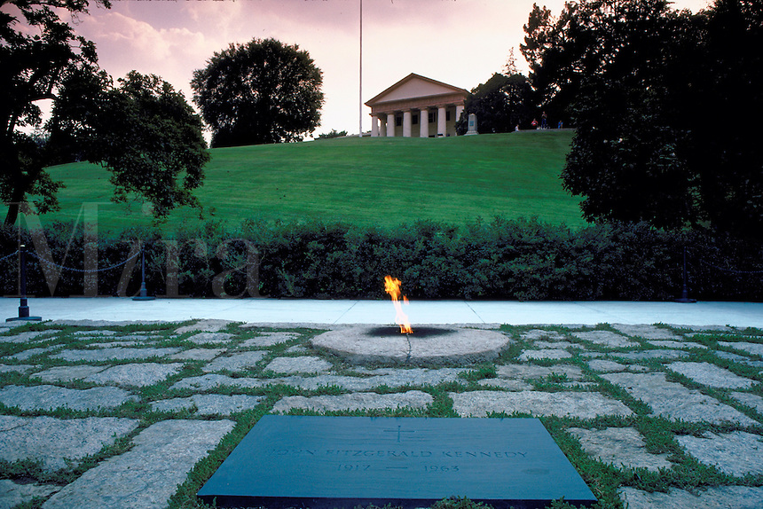 The eternal flame burning at the grave of President John F. Kennedy at Arlington National Cemetery. Arlington Virginia USA Washington DC Metro.