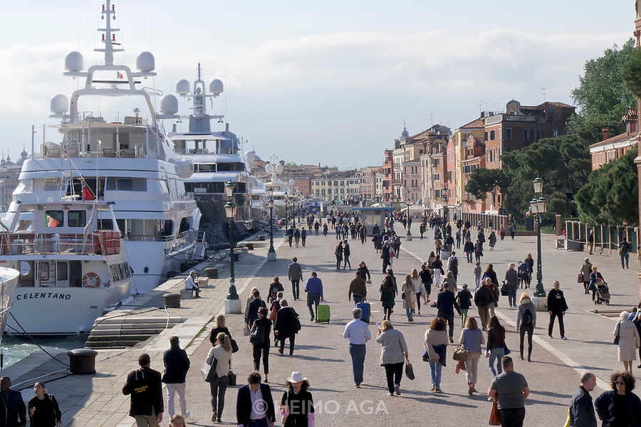57th Art Biennale in Venice - Viva Arte Viva.<br /> Mega Yachts of potential art buyers anchoring at Riva delle Sette Martiri near the Biennale grounds.