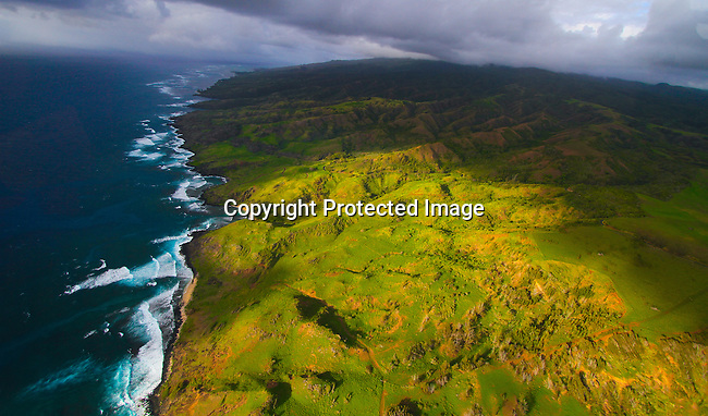 The coast and beaches of Molokai, Hawaii in the Pacific Ocean from the air. Photo by Jim Urquhart/Straylighteffect.com<br /> 11/19/2009