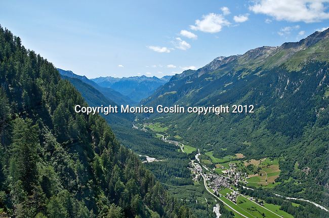 View of the Bregaglia Valley in Switzerland, view from the cable car that takes you to the Albigna dam, one of over 150 dams in the country; The Albigna dam sits at 2,163 meters elevation