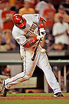 20 June 2008: Washington Nationals' outfielder Elijah Dukes connects for the game winning RBI walk-off single in the 14th inning of the first game in their 3-game series against the Texas Rangers at Nationals Park in Washington, DC. Dukes hit a game-tying solo homer in the eighth, and the winning RBI in the 14th, leading the Nationals to their 4-3 win over the Rangers in their inter-league matchup...Mandatory Photo Credit: Ed Wolfstein Photo