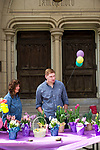 Waterbury, CT- 15 April 2017-041517CM03- Janice Baranoski, left, and Scott Crump, both members of St. John's Episcopal Church, sell flowers during an Easter flower fundraiser Waterbury on Saturday.  Proceeds from the event will go towards the church's youth programs.  Christopher Massa Republican-American