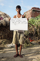 Akhilesh Kumar - 20 yrs.Bihar.Hindu.Unemployed..Hindi - 'Because I am unemployed I roam around with other boys, so people call me a vagrant. This makes me sad'.