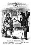 """Railway Undertaking. Touter. """"Going by train, Sire?"""" Passenger. """"'M? Eh? Yes."""" Touter. """"Allow me, then to give you one of my cards, Sir."""""""