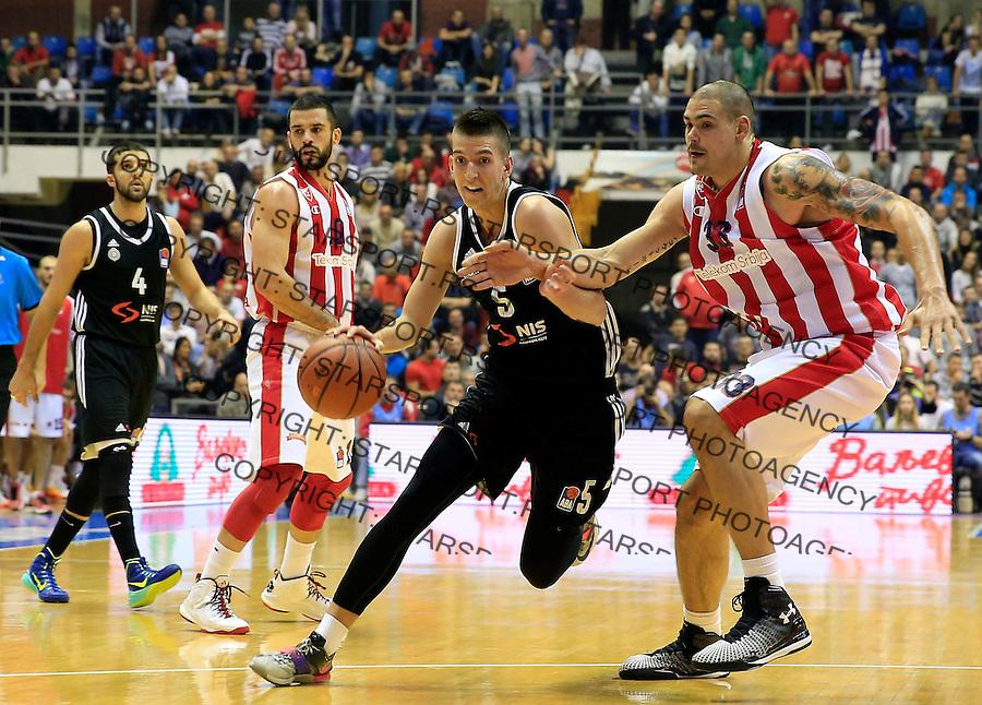 Kosarka ABA League season 2015-2016<br /> Crvena Zvezda v Partizan<br /> Petar Aranitovic (C) Maik Zirbes (R) and Branko Lazic (L)<br /> Beograd, 03.11.2015.<br /> foto: Srdjan Stevanovic/Starsportphoto&copy;