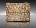 9th Cent BC Neo- Hittite basalt slabs with Hieroglyphic Inscriptions about the activities of King Urhilina &amp; his son. from Hama, Syria. Istanbul Archaeological Museum.
