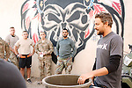 Jon Rose and Christian Troy of Waves For Water give demonstrations on setting up water filtration systems to Army personnel in Forward Operating Base Bostick, Kunar Province of Eastern Afghanistan.
