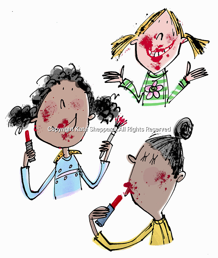 Young girls having fun, getting messy with lipstick