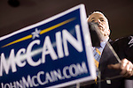 Senator John McCain, Repubican candidate for President, celebrated his victory in the Florida primary, Miami, Florida, January 29, 2008.