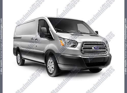 Silver 2016 Ford Transit 250 Low Roof RWB Van commercial vehicle isolated on white background with clipping path