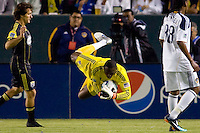 Donovan Ricketts GK of the LA Galaxy fly's through the air to make a save. The LA Galaxy defeated the Columbus Crew 3-1 at Home Depot Center stadium in Carson, California on Saturday Sept 11, 2010.