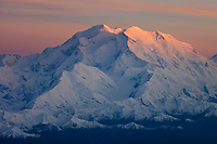Aerial Of Mt. Denali At Sunset, View Looking Southwest, Denali National Park, Interior, Alaska.