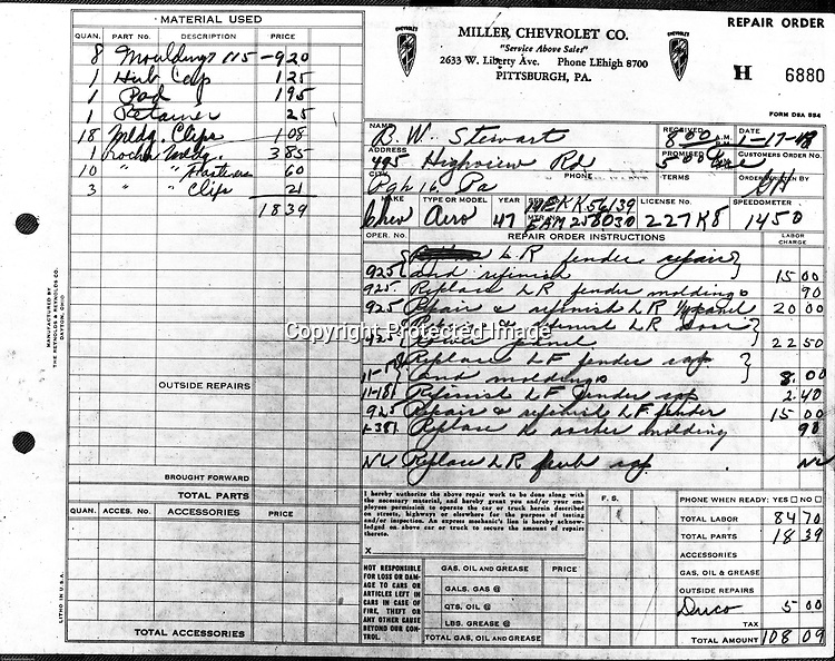 Pittsburgh PA:  View of a 1948 car repair bill from Miller Chevrolet located on West Liberty Avenue in Pittsburgh.