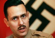 February 10, 1972, Arlington, Virginia. Matt Koehl, the comander of the White National Socialist Party at a desk.