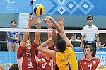 November 18 2011 - Guadalajara, Mexico:  Austin Hinchey of team Canada reaches for the bloack while taking on Columbia in the Bronze Medal Game in the Pan American Volleyball Complex at the 2011 Parapan American Games in Guadalajara, Mexico.  Photos: Matthew Murnaghan/Canadian Paralympic Committee
