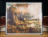BNPS.co.uk (01202 558833)<br /> Pic: TomWren/BNPS<br /> <br /> 65,000 tiny Lego bricks were used to make the Constable copy.<br /> <br /> Lego-lovers have recreated one of John Constable's most famous paintings with 65,000 tiny building blocks. <br /> <br /> The unusual replica of Constable's 1831 work 'Salisbury Cathedral from the Meadows' has been put together in celebration of the original's arrival at the Salisbury Museum in Wiltshire. <br /> <br /> About 800 volunteers flocked to the museum earlier this week to empty out the giant sacks of Lego and put the puzzle together
