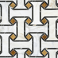 Leone Grand, a waterjet mosaic shown in 24K Gold Glass, honed Calacatta and polished Saint Laurent, is part of the Aurora™ Collection by Sara Baldwin for New Ravenna.