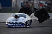 May 18, 2012; Topeka, KS, USA: NHRA pro stock driver Larry Morgan during qualifying for the Summer Nationals at Heartland Park Topeka. Mandatory Credit: Mark J. Rebilas-