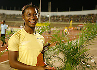 Shelly-Ann Fraser, 2008 Beijing Olympic 100m Gold Medalist with her 3rd. place award. Shell-Ann ran 11.15sec in the 100m at the Jamaica International Invitational Meet held at the National Stadium on Saturday, May 2nd. 2009. Photo by Errol Anderson, The Sporting Image.net