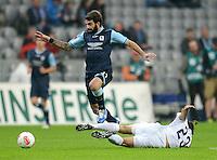 Fussball 2. Bundesliga:  Saison   2012/2013,    10. Spieltag  TSV 1860 Muenchen - FC Erzgebirge Aue  22.10.2012 Grigoris Makos (li, 1860 Muenchen) gegen Nicolas Hoefler (FC Erzgebirge Aue)