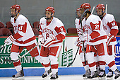Patrick MacGregor (BU - 11), Ben Rosen (BU - 8), Ross Gaudet (BU - 22), Yasin Cissé (BU - 27), Andrew Glass (BU - 14) - The Boston University Terriers defeated the visiting University of Toronto Varsity Blues 9-3 on Saturday, October 2, 2010, at Agganis Arena in Boston, MA.