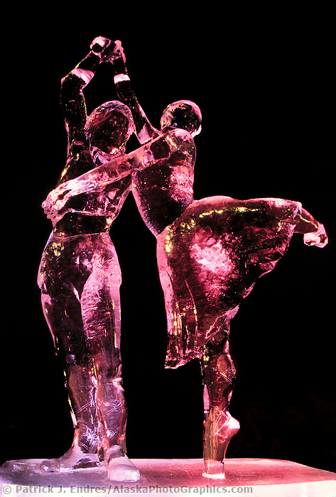 Ice sculpture by Steve Brice, lit at night at the World Ice Art Championships held each march in Fairbanks, Alaska