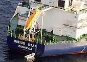 Somalia - January 9, 2009 -- The MV Sirius Star is observed at anchor by the United States Navy on Friday, January 9, 2009 following an apparent payment via a parachuted container to pirates holding the Sirius Star. The United States 5th Fleet conducts maritime security operations to promote stability and regional economic prosperity. .Credit: David B. Hudson - U.S. Navy via CNP