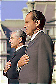 United States President Richard M. Nixon participates in a ceremony welcoming the Shahinshah of Iran, Mohammad Reza Shah Pahlavi to the White House in Washington, DC on October 21, 1969.<br /> Mandatory Credit: Robert L. Knudsen -  White House via CNP