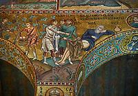 Medieval Byzantine style mosaics of Bible story of Noah, the Palatine Chapel, Cappella Palatina, Palermo, Italy