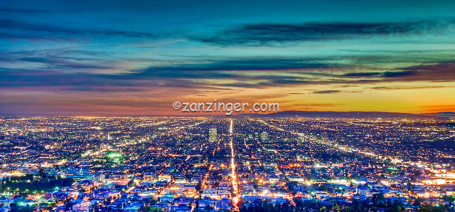 Los Angeles CA, Cityscape, Skyline, Night, Dusk, lit, lights on, beautiful