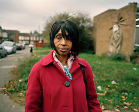 49 year old Anne walks through the streets of London..She came to the UK from DR Congo in 2002 and claimed asylum. She had been detained and beaten for condemning the forced recruitment of child soldiers after her son was taken by rebel forces and her husband killed. On the second occasion she was raped by the rebels. After forming a women's group to protest against rebel activity she was forced to watch, paralysed with horror, as three of the women in her group were buried alive by the rebels. Following the rejection of her asylum claim Anne spent the next three years living in total destitution, much of the time sleeping outside. One night she was attacked by a white gang while she was sleeping on a park bench in Sunderland - two of the gang members raped her. She survived on an average of three GBP a week, or five on a good week. Anne is one of an estimated 300,000 rejected asylum seekers living in the UK.