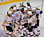 22 April 2009: Members of the Boston Bruins celebrate victory over the Montreal Canadiens at the Bell Centre in Montreal, Quebec, Canada. The Bruins advance to the Eastern Semi-Finals, eliminating the Canadiens from Stanley Cup competition with their 4-1 win and series sweep. ***** Editorial Sales Only ***** Mandatory Credit: Ed Wolfstein Photo