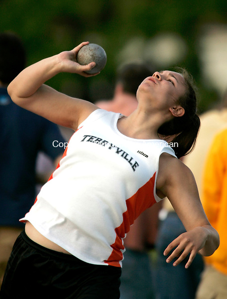 MANCHESTER, CT - 31 MARCH 2005 -  053105JS01-- Terryville's Lauren Jones took second place in the girls shot put during the Class S track and field championships Tuesday at Manchester High School in Manchester --Jim Shannon Photo--Lauren Jones; Terryville, Manchester High School, Manchester are CQ