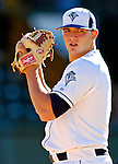 12 July 2007: Vermont Lake Monsters pitcher Cole Kimball warms up prior to a game against the Mahoning Valley Scrappers at Historic Centennial Field in Burlington, Vermont. The Scrappers defeated the Lake Monsters 11-2 in the first game of their NY Penn-League double-header...Mandatory Photo Credit: Ed Wolfstein Photo