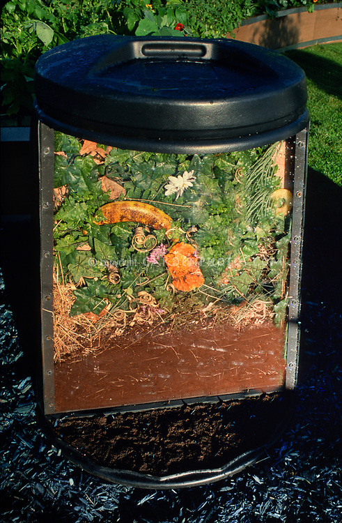 Cross section of a compost bin, interior educational textbook image of inside of compost heap