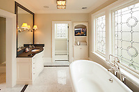 This Bathroom was updated to include multi-room audio and, lighting control and TV displays for modern comfort and luxury.