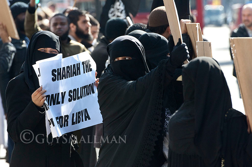 Muslims Against the Crusaders protest over the bombing of Libya outside Downing street. 21-3-11