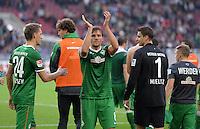 Fussball  1. Bundesliga  Saison 2013/2014  8. Spieltag VfB Stuttgart - SV Werder Bremen     05.10.2013 Schlussjubel SV Werder Bremen; Nils Petersen, Clemens Fritz und Torwart Sebastian Mielitz (v.li)