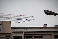In this Sunday, Jul. 07, 2013 photo, army aircrafts perform aerial manoeuvres during a rally to protest against the detention of the ousted president Mohammed Morsi at the Republican Guard Headquarters in Cairo, Egypt. (Photo/Narciso Contreras).