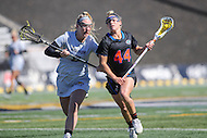 Towson, MD - March 5, 2017: Florida Gators Sydney Pirreca (44) tries to get pass Towson Tigers Shelby Stack (9) during game between Towson and Florida at  Minnegan Field at Johnny Unitas Stadium  in Towson, MD. March 5, 2017.  (Photo by Elliott Brown/Media Images International)