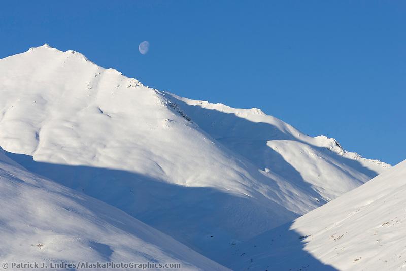 Snow covered Brooks range mountains, Arctic Alaska.