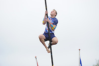 FIERLJEPPEN: JOURE: Accommodatie Koarte Ekers, Fierljepvereniging De Lege Wâlden Joure, 25-05-2013, Junioren A 1e klasse, Hans Ulco de Boer (#214), ©foto Martin de Jong