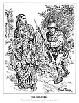 """The Deliverer. """"Have no fear: I come to set you free from your chains."""" (a Chinese soldier approaches All-India who is tied with flowers)"""