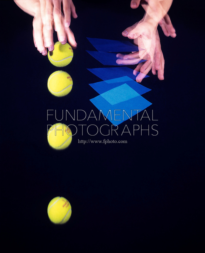 FALLING BALL &amp; PAPER -stroboscopic<br /> Newton's Second Law of Motion<br /> The ball will reach the ground first. The paper experiences greater air resistance resulting in a smaller net force acting upon it  and it falls more slowly than the ball. Exposure was made for 1/2 second, 10 flashes per second of a 3&quot; tennis ball.